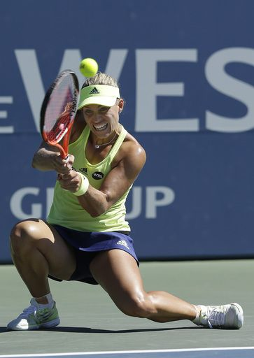 #Kerber #tennis Angelique Kerber, from Germany, returns the ball to Karolina Pliskova, from Czech Republic, during the championship match in the Bank of the West Classic tennis tournament in Stanford, Calif., Sunday, Aug. 9, 2015. Kerber won 6-3, 5-7, 6-4. (AP Photo/Jeff Chiu)