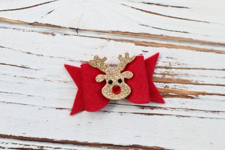 Christmas Bow Hair Clip - Christmas Hair Clip - Glitter Hair Bow - Baby Bow Hair Clip - Reindeer Hair Clip by AvaBowtiquee on Etsy