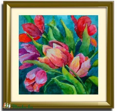 Tulipános aquarell festmény (DobisMaria) - Meska.hu