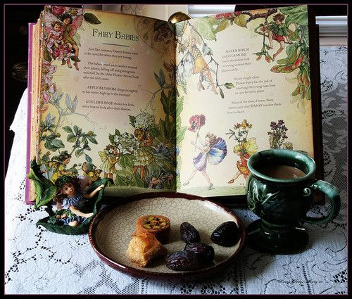 "FAIRY TREATS for a Cloudy Afternoon © ArteZoe (PhotoArtist) via flickr ... ... Still Life. Tableau.  ""The Girls' Book of Flower Fairies"" by Cicely Mary Barker (Artist, England), Published by Frederick Warne. Fairy Statuette. Tea & Pastries."