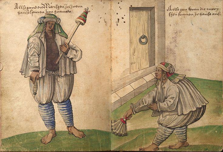 """""""Mujer morisca hilando""""; """"mujer morisca barriendo en casa"""". Dibujos de Christoph Weiditz (1529)"""