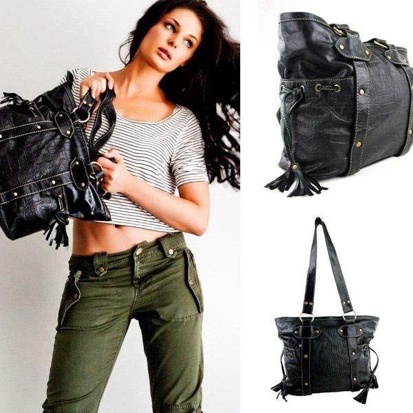 Jo Tote Leather Bag // Black  by Tigani Lux