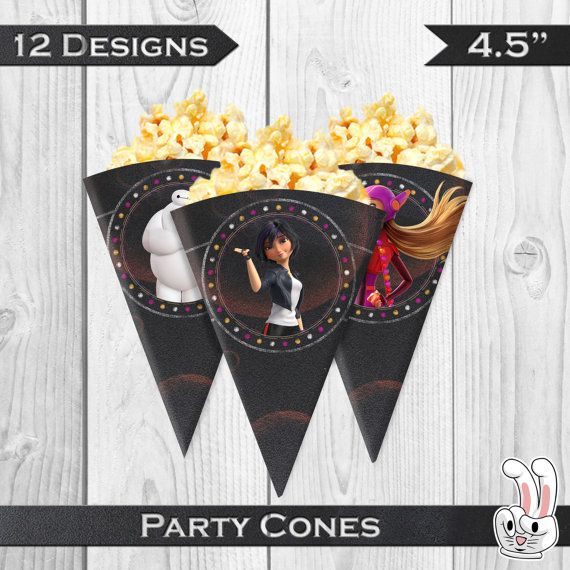 Big Hero 6  Party Cones  Chalkboard Birthday от FunnyBunnyStore