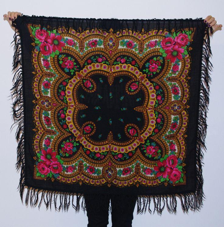 Unique Big Black Russian 70's shawl with fringes / Pavlovo Posad shawl/ Ukrainian Shawl Folk Scarf with Tassel Polish shawl flowers Bohemian by VintagePolkaShop on Etsy