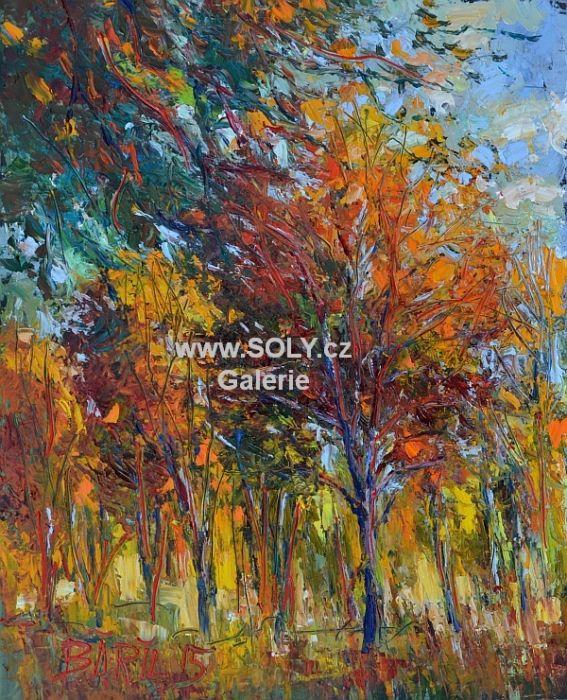 Originální obraz, olej na desce, 40x 50 cm, cena 7 500,-, Krajina v rozpuku či podzimu?