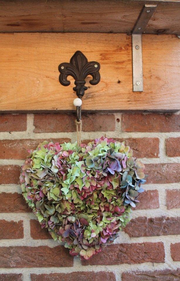 Hortensia Hart - eenvoudig om te maken.Bij de Action kan je een hart van oase halen en je moet hortensia's nemen die volop in het blad zitten, dus volle knoppen. (dit kan pas weer in het najaar) Je knipt de hortensia's af en dan knip je ze als nog in kleinere bloempjes ( als je de hortensia knop op de kop houdt dan zie je wat ik bedoel). dan is het gewoon een kwestie van insteken en op sommige plekken heb ik krammetjes gebruikt. Je moet de hortensia's dicht tegen elkaar insteken ivm indrogen
