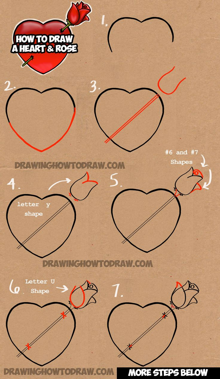 Learn How To Draw A Heart With A Rose  Easy Step By Step Drawing Tutorial