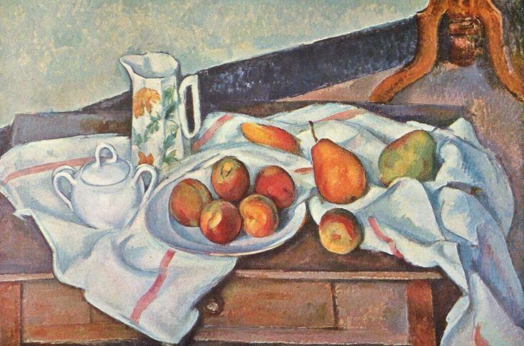 """""""Natura morta con zuccheriera"""", Paul Cézanne,1888-90; olio su tela, 61x90 cm; Museo dell'Ermitage, San Pietroburgo."""
