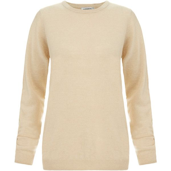 J.Lindeberg Crew Neck Cashmere Jumper (245 SAR) ❤ liked on Polyvore featuring tops, sweaters, beige, jumpers sweaters, cashmere sweater, long sleeve jumper, wool cashmere sweater and crew sweater