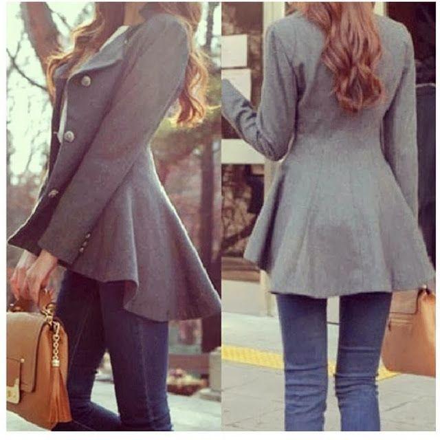 Grey Peplum Coat