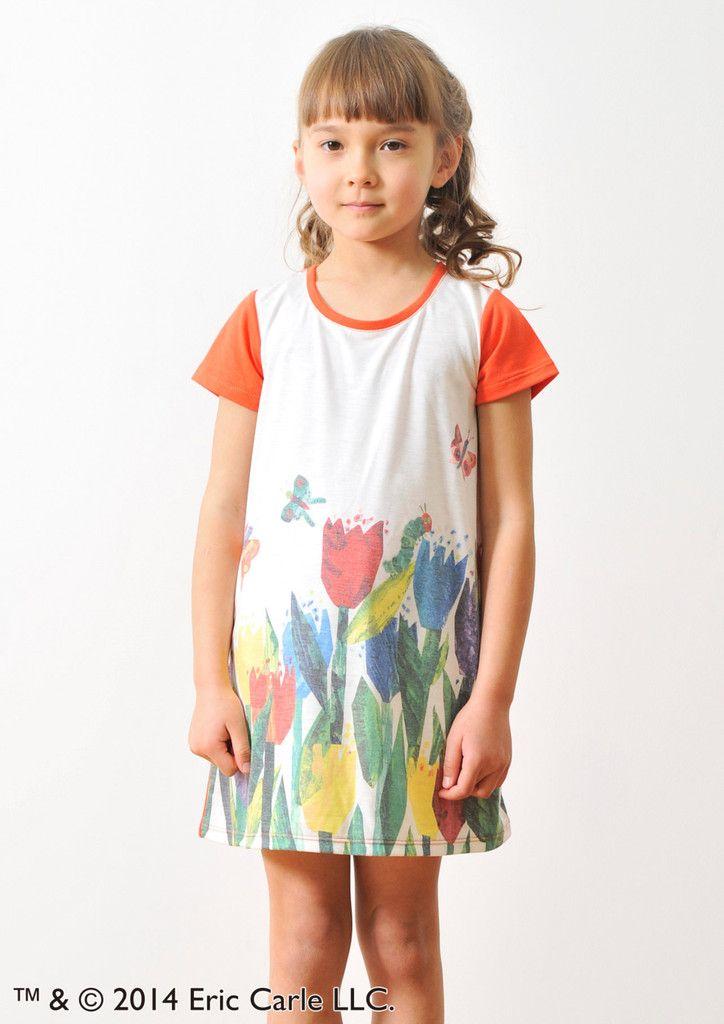 Eric Carle Round Neck Short Sleeve One-Piece(Tulip Garden)(Kids) – Design Tshirts Store graniph