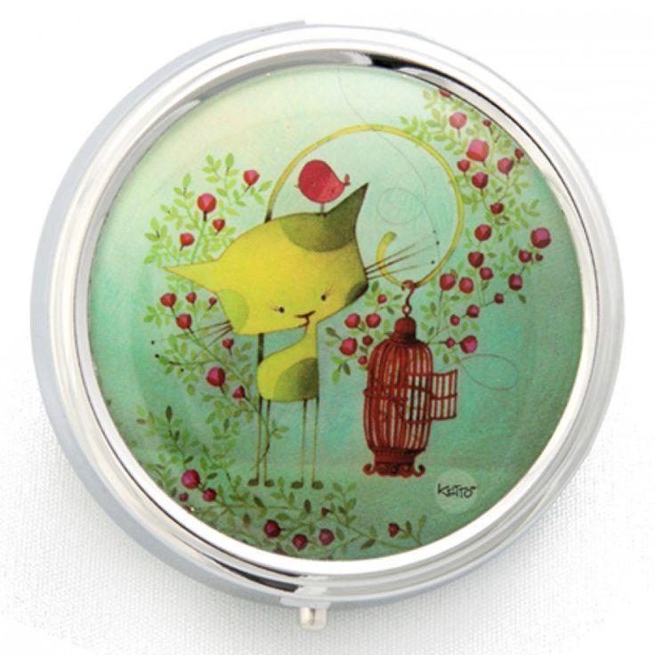 Mini-Boîte Oiseaux en Cavale KETTO Tiny Box Bird on the Run // Petite boîte de métal. Intérieur de plastique à trois divisions. Fermeture à clip. // Small metallic box. Plastic interior with three compartments. Clip closure. // #MiniBoite #TinyBox #Ketto