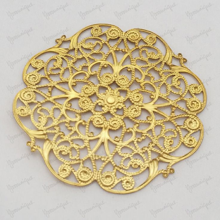 One Large  Antiqued Gold Plated Metal Filigree Base Connector 62mmm B1367 by yooounique on Etsy