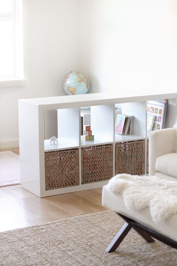 Clutter Control Simple Toddler Space I with links for toys + storage