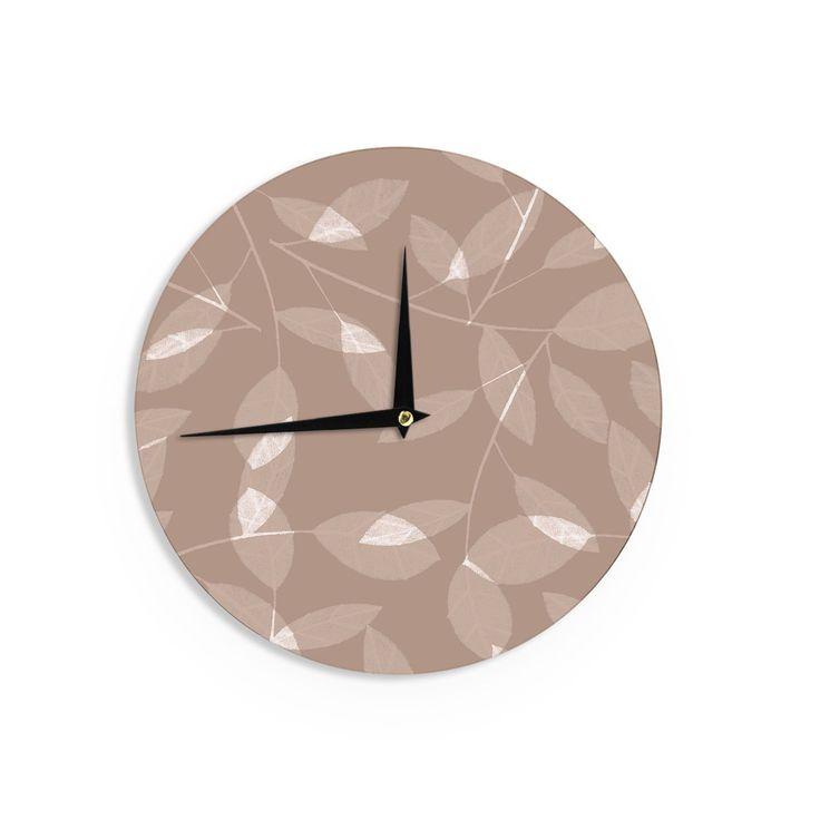 Kess InHouseAlison Coxon 'Leaf Tawny' Beige Wall Clock