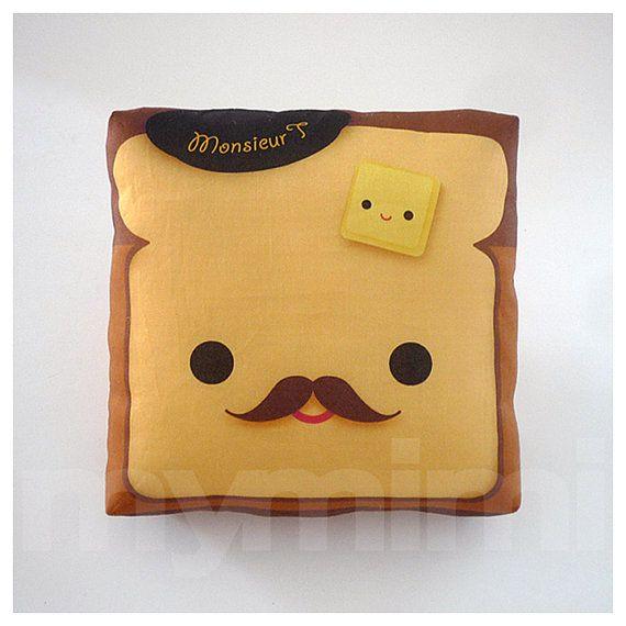 "Brown Pillow, Toast Pillow, Food Pillow, Throw Pillow, Kawaii Print, Toy Pillow, Home Office Decor, Kids Playroom Decor, Dorm Decor, 7 x 7"" on Etsy, $18.00"
