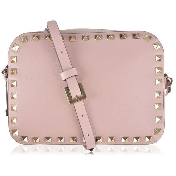 Valentino Rockstud Cross Body Bag (3.075.500 COP) ❤ liked on Polyvore featuring bags, handbags, shoulder bags, pink purse, pink leather purse, pink crossbody purse, pink cross body purse and leather crossbody purse