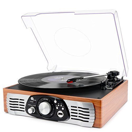 Vintage Record Player Vinyl to MP3 Recording USB Turntable w/ Speaker Wood Brown #1byone
