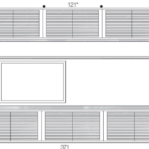 """Feita de MDF laqueado de branco, a estante é composta de módulos fixados em um painel de fundo, que oculta a fiação da TV de 60""""(Sony). Execução da Volume."""