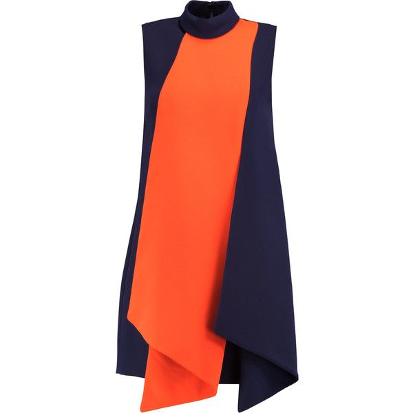 Victoria, Victoria Beckham Layered crepe mini dress ($395) ❤ liked on Polyvore featuring dresses, navy, overlay dress, navy mini dress, orange mini dress, navy blue dress and orange dress