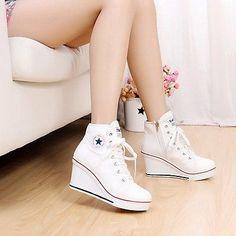 Para Mujer Lona Alta Top tacón de cuña De Zapatillas Lady's Lace Up Sport Zapatos Pumps Nuevo
