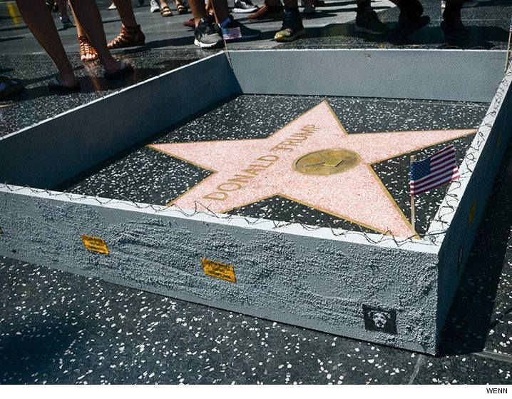 A wall has been built around Donald Trump star on the Hollywood Walk of Fame