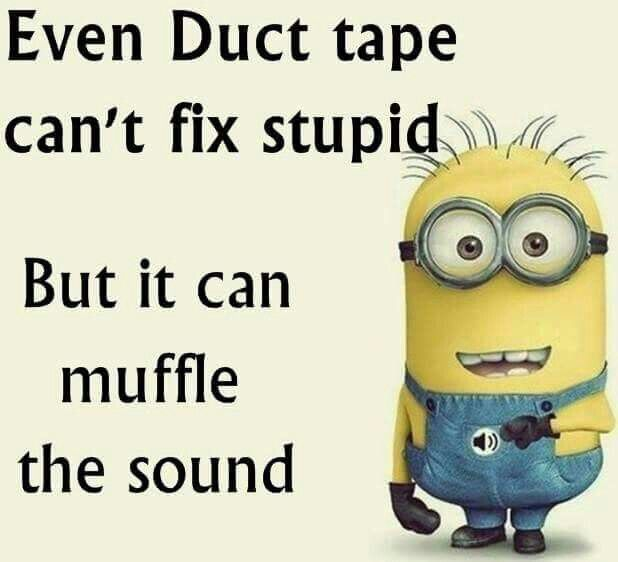 Even Duct Tape Can't Fix Stupid.  But it can muffle the sound.