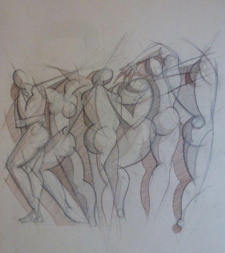 Bozzetto, studio di figure - Matita su carta, 1993