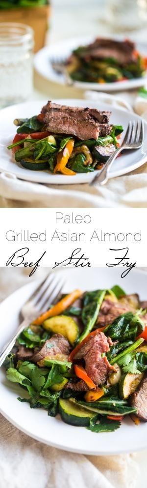 Paleo Stir Fry carne grelhada com asiática Almond carne e legumes são grelhados de vestir e, em seguida, jogou com um asiático vinagrete cremosa manteiga de amêndoa e espinafre para uma refeição rápida e fácil, saudável, Paleo-friendly! | Foodfaithfitness.com | FoodFaithFit by Divonsir Borges