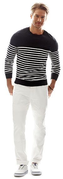 white denim jeans and striped sweaters
