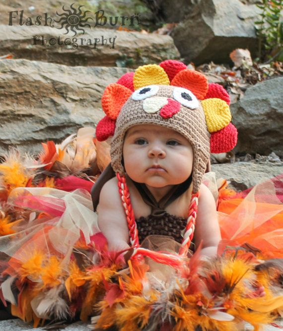 BUY THIS Handmade Wild Turkey Fall Harvest Color Baby Crochet Hat by HandpickedHandmade, $19.99 Perfect for Thanksgiving or Christmas dress up. Recipes for cuteness  you could just gobble up. Easy fun and warm design. Great for pictures. Practical and stylish girls or boys hat. See other crochet designs also with prices starting at $8 and up