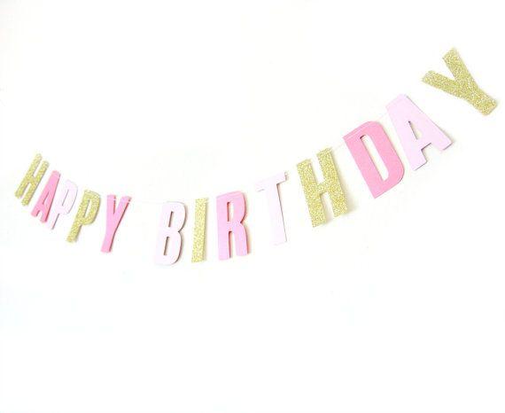 Happy Birthday Gold Glitter  Pink Shimmer Banner - Birthday Garland , Text Bunting, Birthday Banner, Happy Birthday Bunting