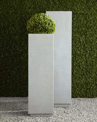 "Modern Square Planters - Horchow.  small 14"" by 46""H  large 16"" by 60""H"