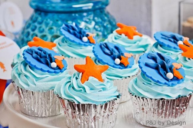 sea cupcakes under the sea birthday party - nautical dessert table