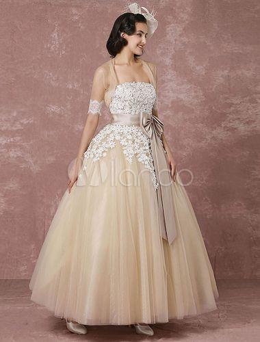 Spitzen-Hochzeit Kleid Tüll Champagner Brautkleid mit Bolero Cape Ball Kleid trägerlose Schatz Band Bow Schärpe Knöchel Länge Brautkleid