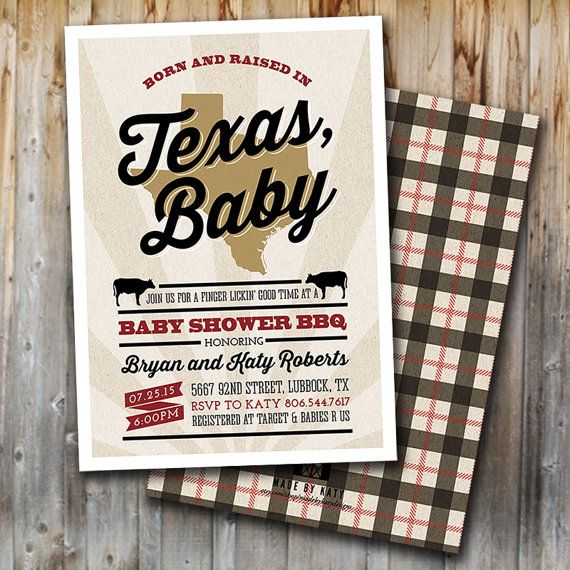 BBQ Baby Shower Invitation: Made In Texas by madebykatydesigns