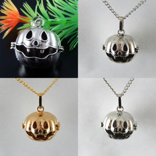 Lot 2 Vintage Style Halloween Funny Pumpkin Locket Brass Charms Necklace Pendant