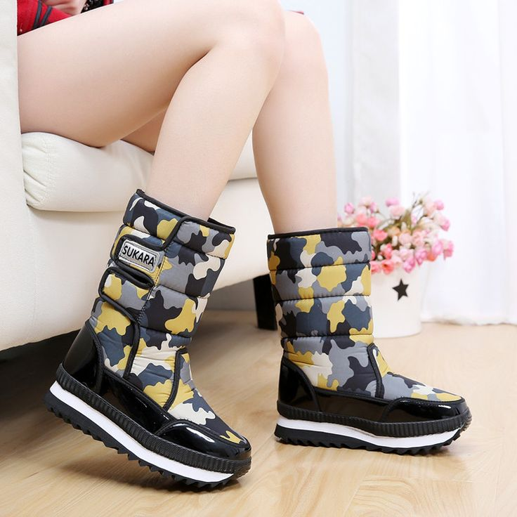 New winter camouflage boots waterproof snow boots warm thick non-slip heavy-bottomed female SUB1276