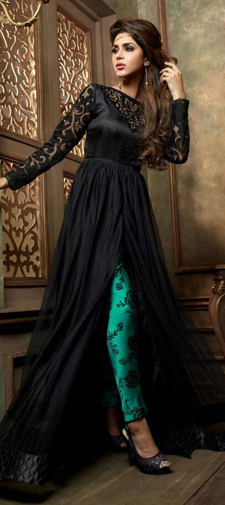 451214: Black and Grey color family unstitched Party Wear Salwar Kameez .