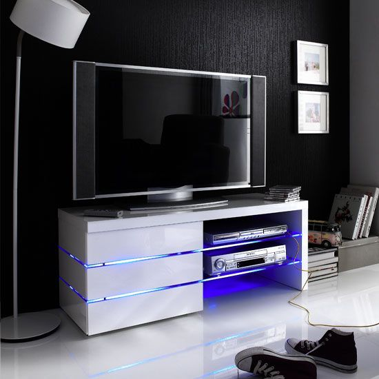 Sonia White High Gloss Tv Stand With Led Lights And Glass