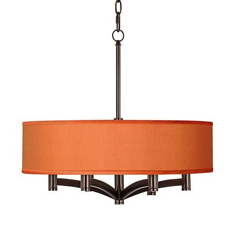 Orange Faux Silk Ava 6-Light Bronze Pendant Chandelier - #X9844-8G244 | Lamps Plus