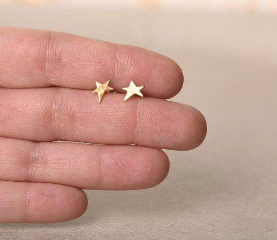gouden ster oorbellen studs, ster berichten, een symmetrische ster oorbellen van ebben hout Valentijn cadeau, cadeau voor meisje, vakantie winkelen, stapel oorbellen, shine