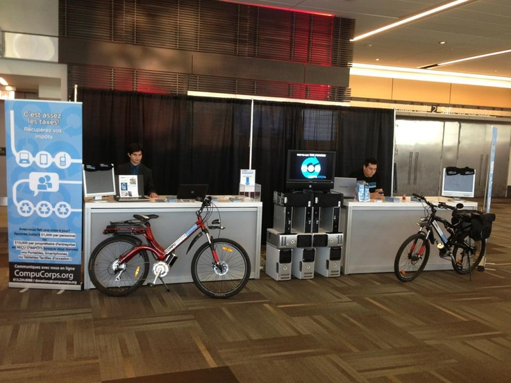 Here is a view of our booth at the Ottawa International Game Conference. You can see in the foreground our two electric bicycles we use to collect small electronic devices, directly to your home!