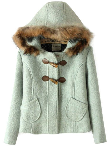 Light Green Fur Hooded Horn Button Pockets Coat