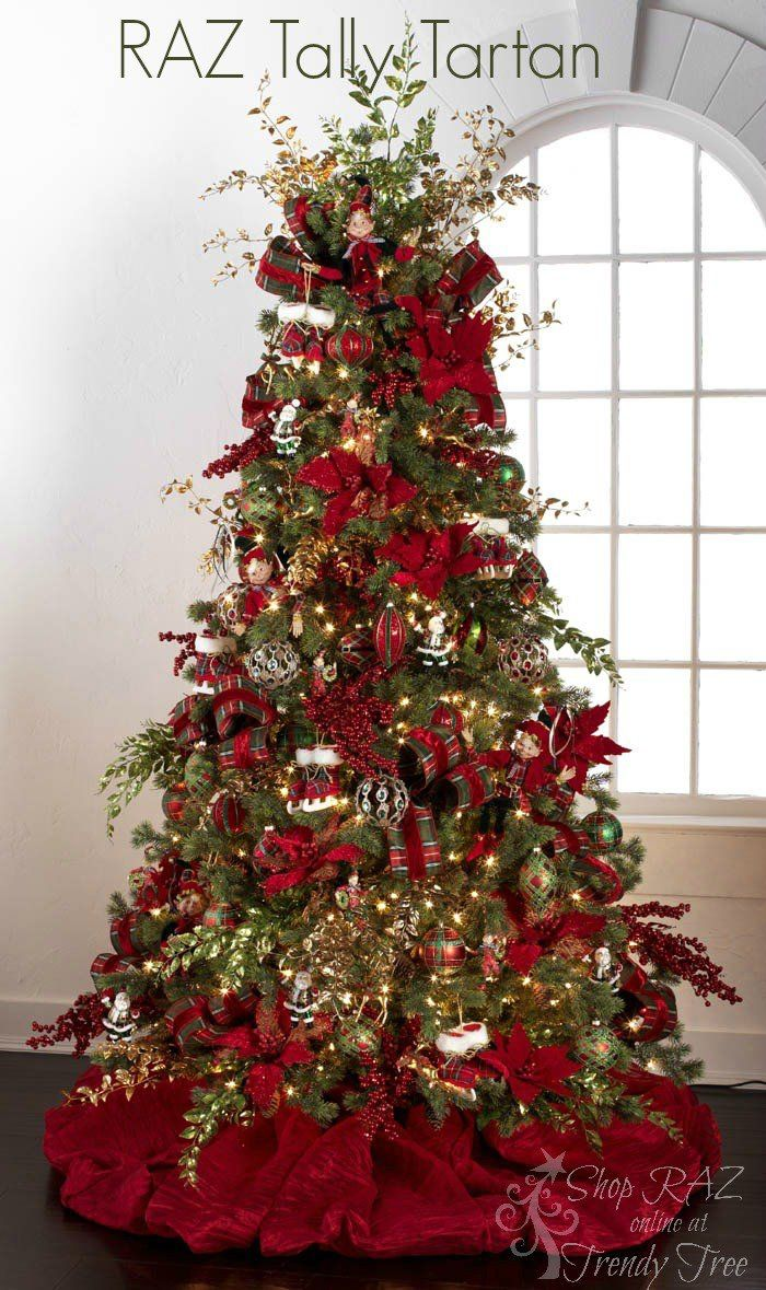 Christmas tree decorations red and green - Raz 2015 Decorated Christmas Tree Purchase Products At Trendy Tree