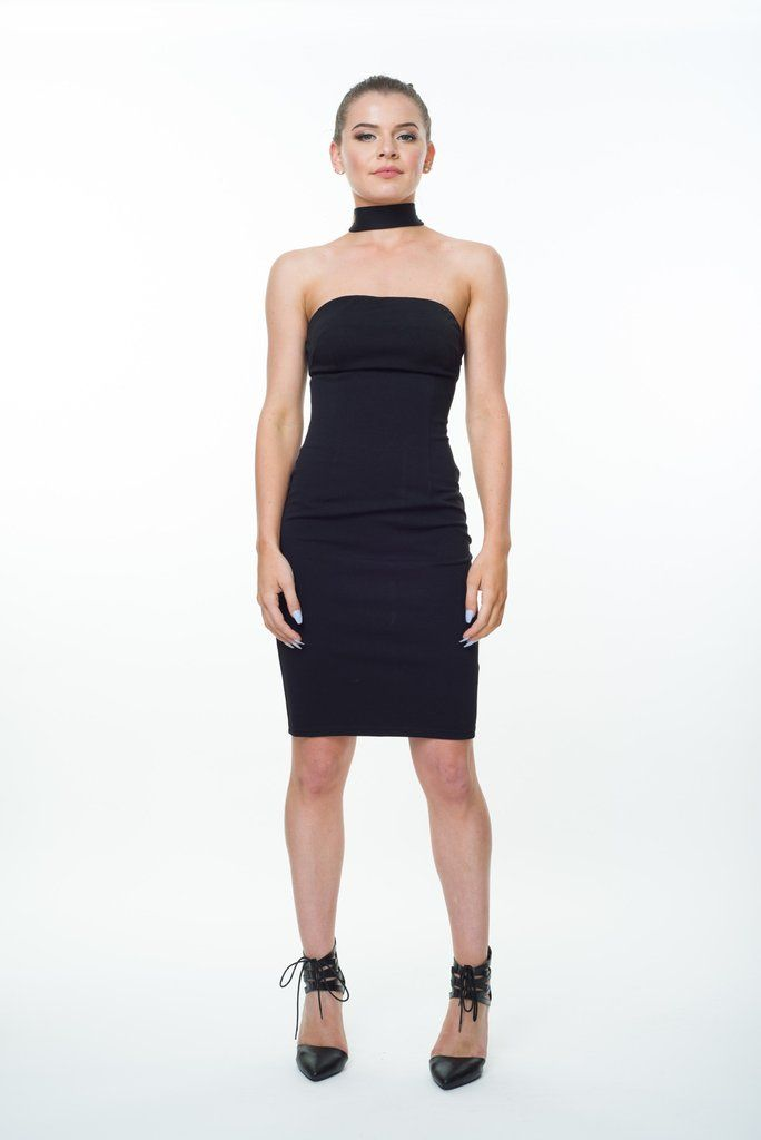 A curve hugging strapless midi with choker design makes this the ultimate sultry dress. Invisible side zipper and a slight stretch for comfort