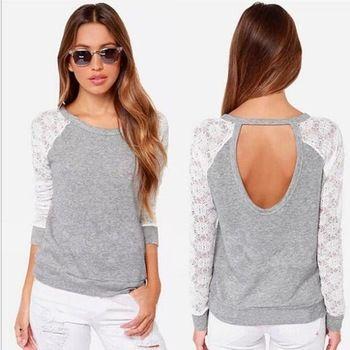 2015 nuevo de las mujeres del O - cuello largo mangas Patchwork blusas casuales