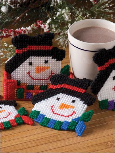 Snowman Coaster Set  Technique - Plastic Canvas