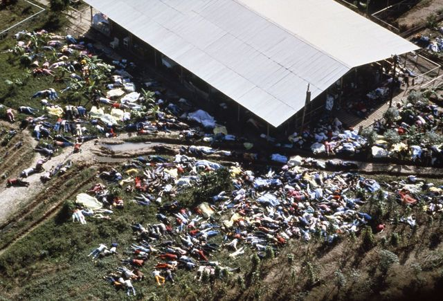 """Jonestown Massacre---On November 18, 1978, a """"religious"""" leader named Jim Jones implored nearly a thousand members of his People's Temple cult in Guyana to commit suicide. The death tally included 200 children. Most of the deceased were killed by cyanide poisoning. This was the largest mass suicide in history. What kind of words did he preach to them?"""