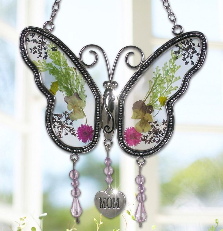 Mom Butterfly Mother Suncatcher With Pressed Flower Wings U2013 Motheru0027s Day  Gifts U2013 Gifts For Mom